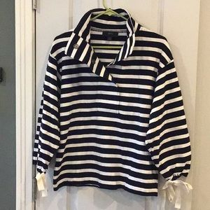 J.Crew striped sweatshirt with tie cuff sleeve